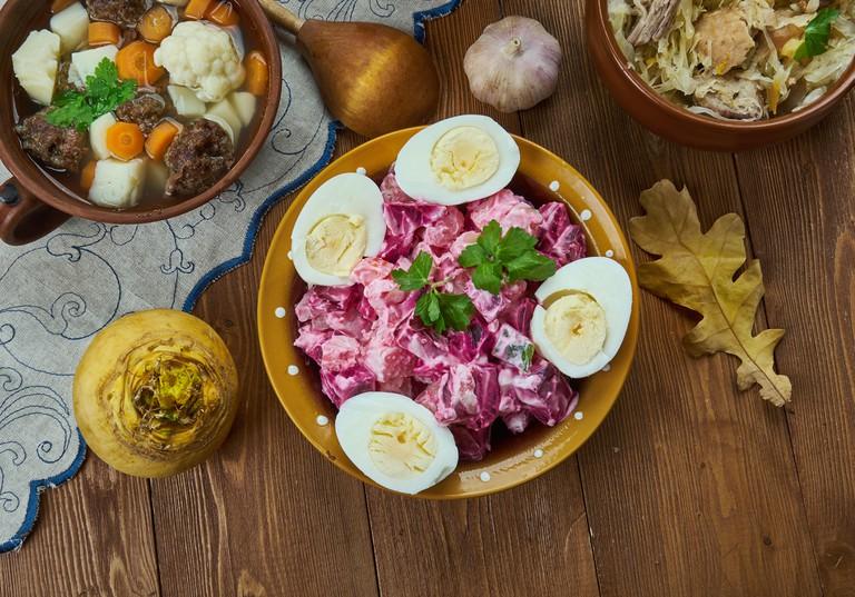 Rosolje, Estonian Potato Beet Salad, Estonian cuisine, Traditional assorted dishes, Top view.