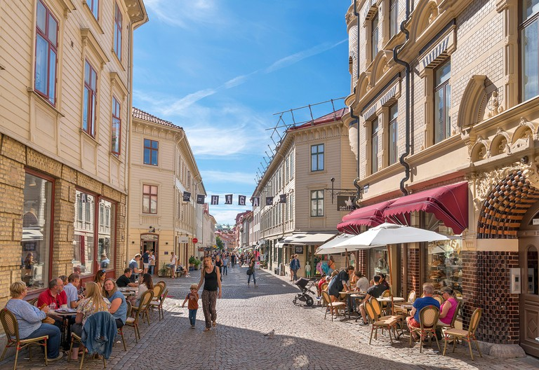 Gothenburg, Haga. Cafes, bars, restaurants and shops on Haga Nygata in the Haga district, Gothenburg, Sweden