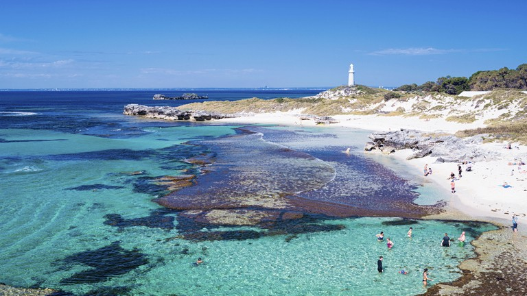 Rottnest Island, Australia. The Basin beach on Rottnest Island on a beautiful, sunny day. Perth, Western Australia