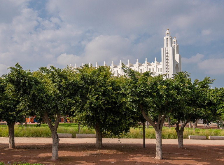 The former Catholic Church of the Sacred Heart of Jesus in Casablanca, Morocco, built in 1930. The white cathedral ceased its religious function