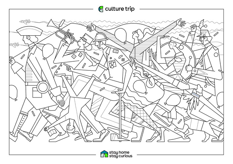 Stay Home - Stay Curious Colouring book-BASTILLE DAY_PARIS