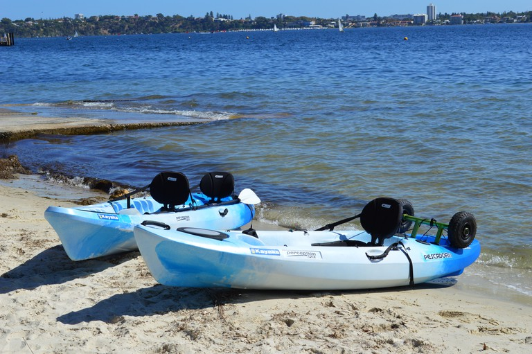 Kayaks by the Swan River