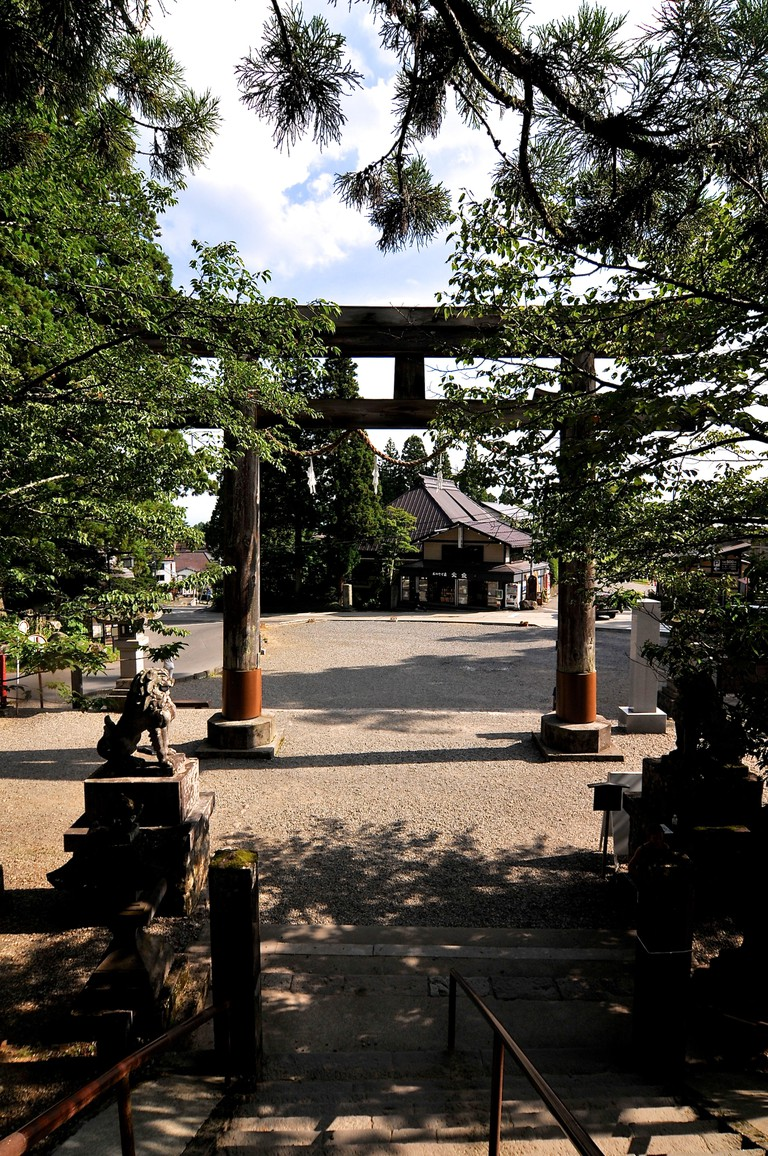 View on the big wooden Torii of the middle Togakushi Shrine located in the Nagano Prefecture, Japan.