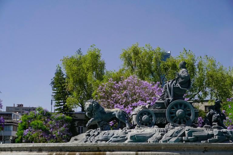 Fuente de Cibeles, (Cibels Fountain) located at a traffic circle in Plaza Villa de Madrid and Plaza Cibeles in Mexico City, Mexico