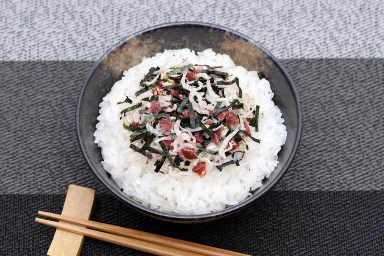Shirasu and umeboshi on cooked white rice