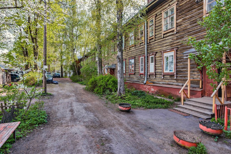 Old wooden ancient houses in Korolev. Russia.
