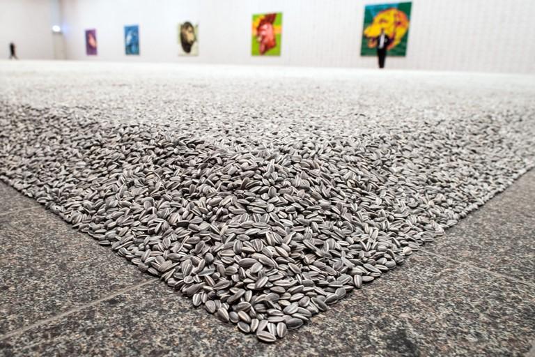 """The artwork """"Sunflower Seeds"""", which consists of sunflower seeds made of porcelain by the Chinese artist Ai Weiwei"""