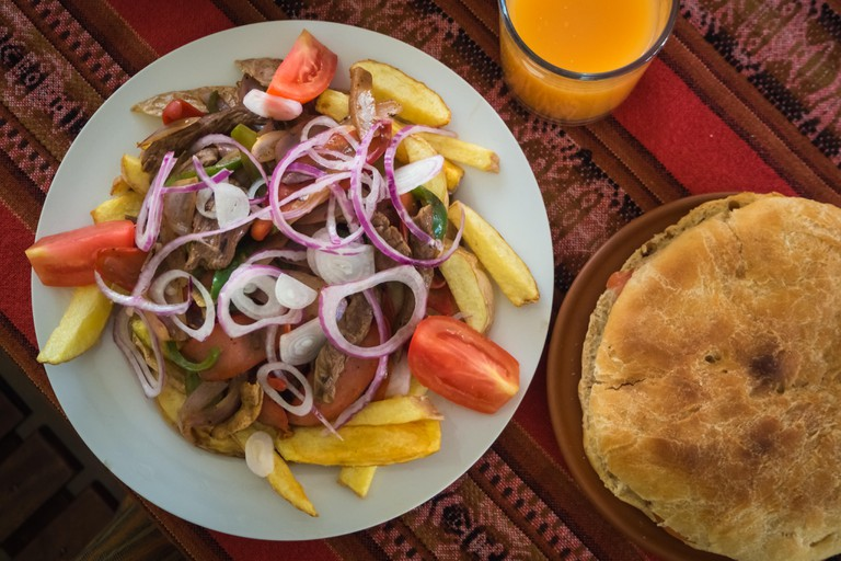 Typical dish of the Bolivian cuisine called pique macho