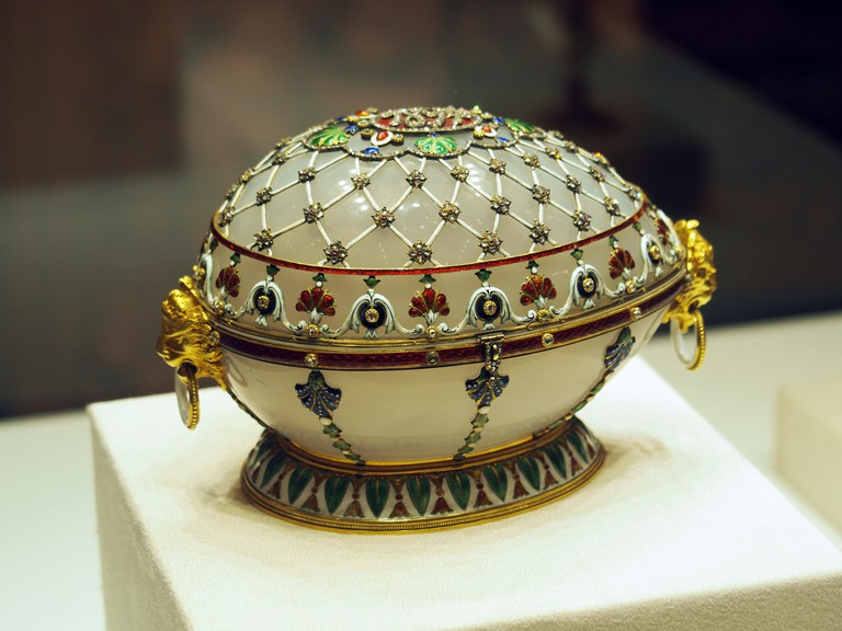 Original Faberge egg, Faberge Museum in Shuvalov Palace, Saint Petersburg, Russia