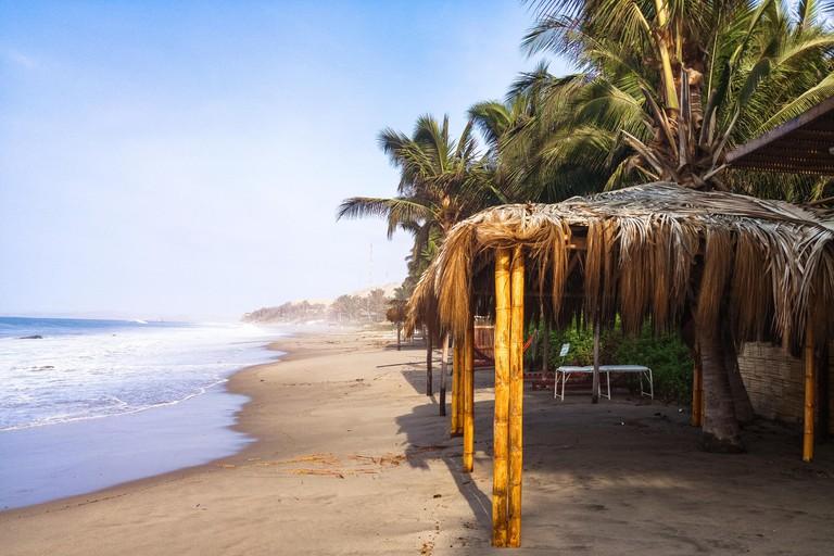 Mancora beaches one summer morning, located in northwestern Peru.