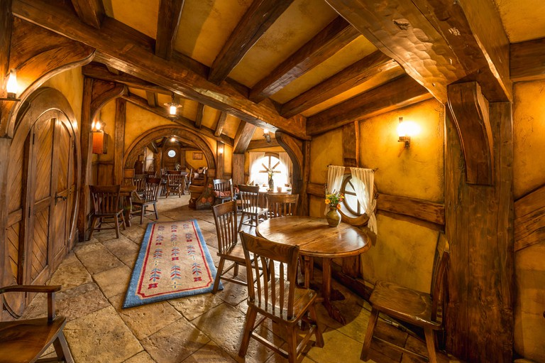 Interior view of the bar The Green Dragon Inn, Hobbiton in the Shire, filming location for Lord of the Rings and The Hobbit, Matamata, Waikato, North. Image shot 2013. Exact date unknown.