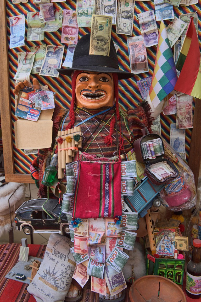 Offerings to Pachamama near the La Hechiceria Witches Market in La Paz, Bolivia