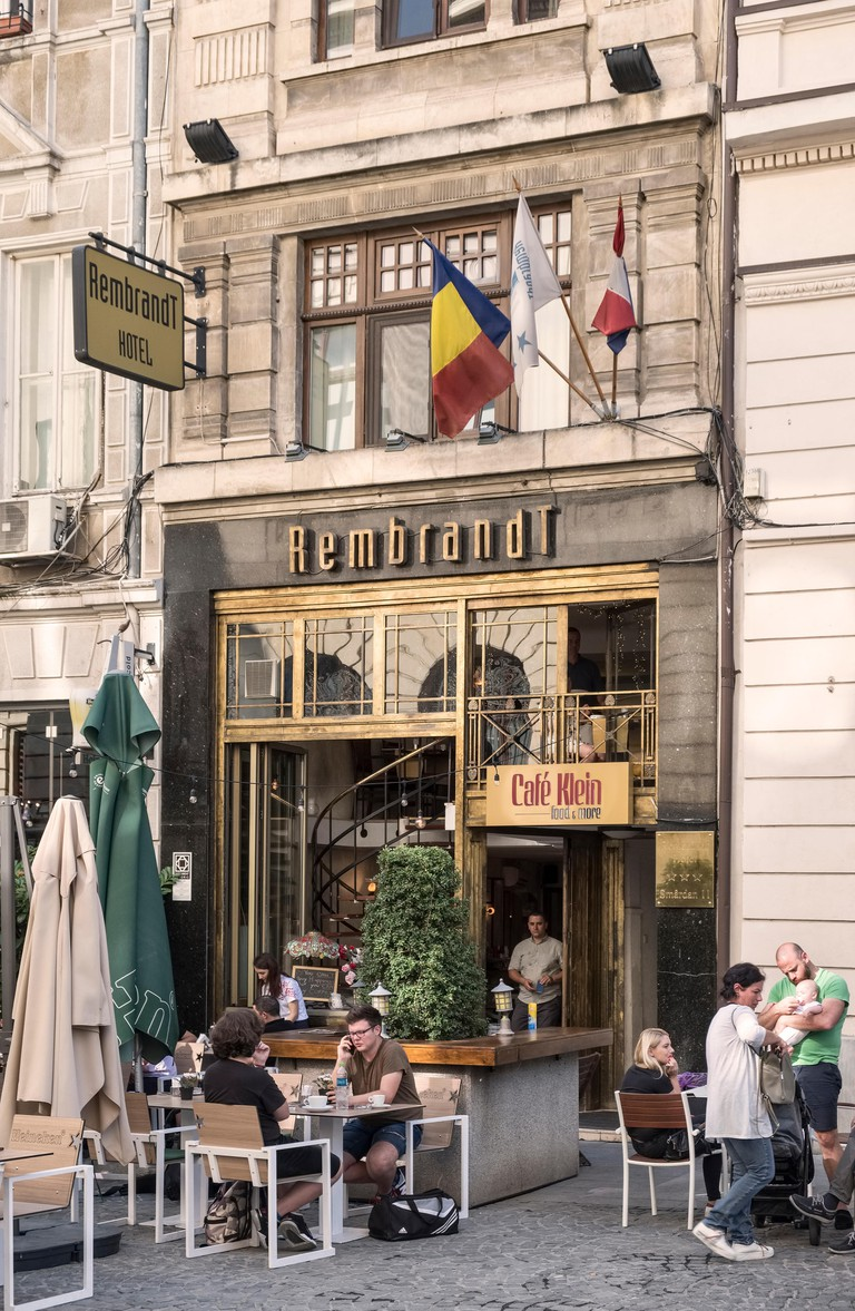 Bucharest, Romania. The Rembrandt Hotel on Strada Smardan in the heart of the old town