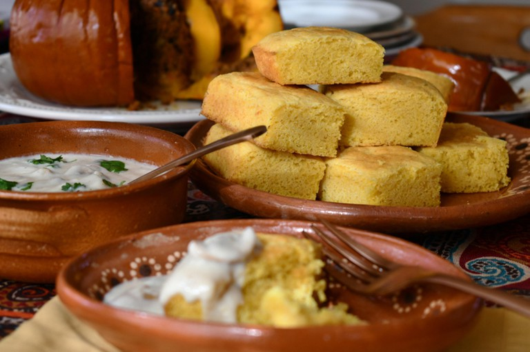 Traditional corn bread served on a festive Thanksgiving table