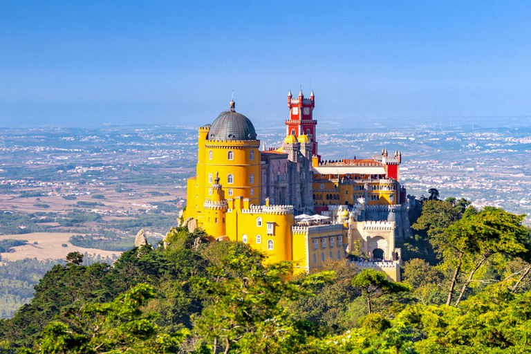 Panoramic view of the Pena Palace.Sintra, Portugal