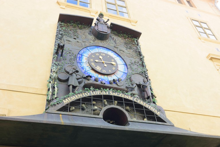 Zatec (Saaz), Astronomical Hop Clock at Chram chmele a piva (Hop and beer temple) in Ustecky, Aussiger Region, Usti nad Labem Region, Czech