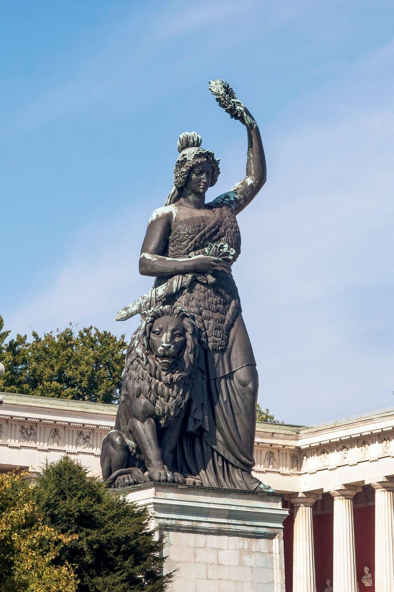 Munich-Bavaria-Germany, OKTOBER 2, 2013.Bavaria Munich: Statue at Theresienwiese. Bavaria is the feminine symbolic figure and secular patroness of Bav. Image shot 2019. Exact date unknown.