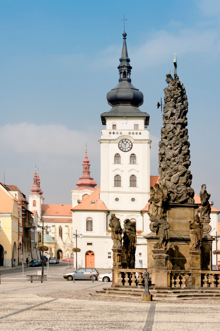 CZECH REPUBLIC NORTHERN BOHEMIA TOWN OF ZATEC SVOBODY SQUARE TOWN HALL PLAGUE PILLAR OF HOLY TRINITY 1707