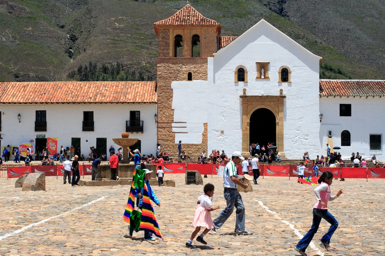 tourists during the Kite Festival in Villa de Leyva, Boyaca, Colombia. Image shot 2008. Exact date unknown.
