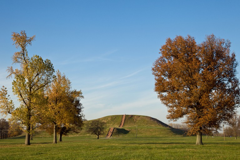 Monks Mound, the largest man-made earthen mound in the United States at Cahokia in Illinois.
