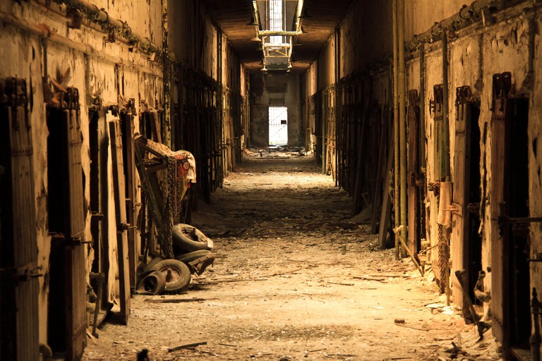One of the crumbling cellblocks at Eastern State Penitentiary in Philadelphia, Pa. The prison was built in 1829.