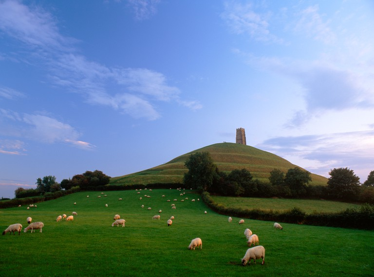 Looking up at Glastonbury Tor and St Michael's Tower from the NE, showing the terracing which some see as an ascending spiral pa