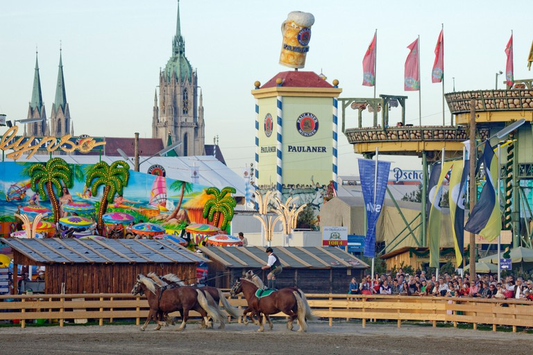 St Paul church and horse parade, historical Oktoberfest at the Theresienwiese, Munich, Bavaria, Germany, Europe, Europe