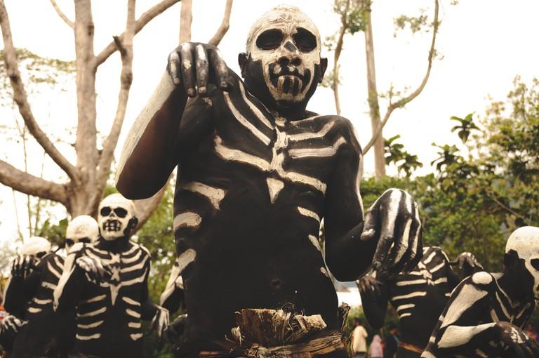 The Chimbu skeleton tribe in Piaya village near Mt Hagen, Papua New Guinea