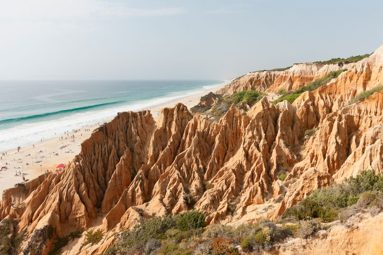 Sandstone cliffs in Gale beach, Comporta , Portugal