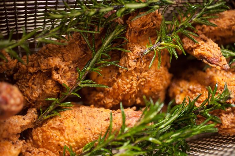 fried chicken in the fryer