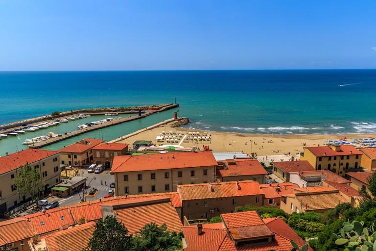 View down to the beach of Castiglione della Pescaia, Maremma coast, Tuscany, Italy