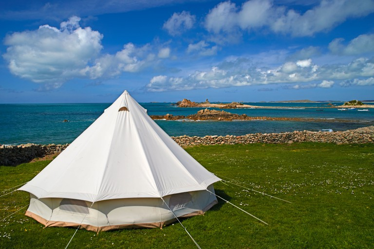 Troytown campsite at St Agnes, Isles of Scilly, Scillies, Cornwall in April