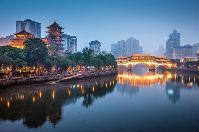 View of Chengdu at night