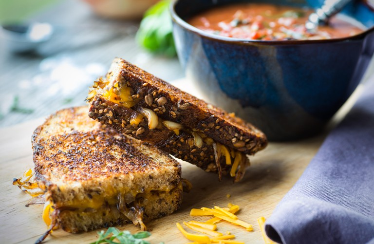 Fresh tomato soup with grilled cheese sandwich