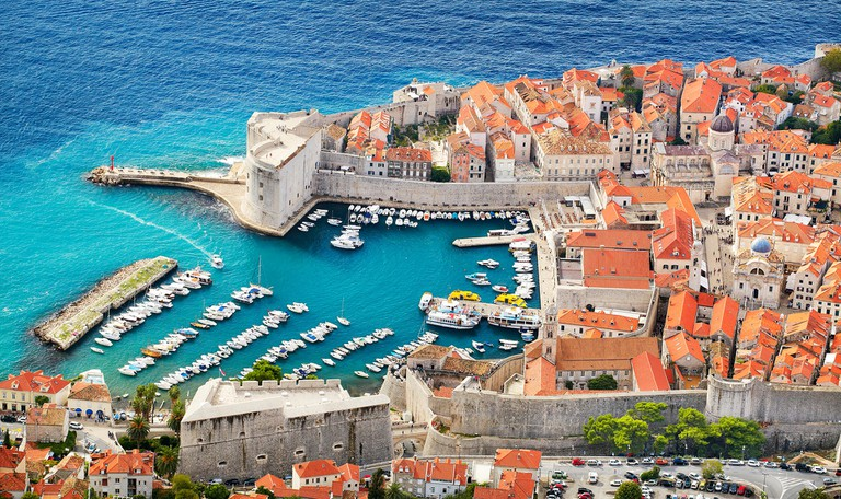 Dubrovnik old town, elevated view to harbor, Croatia