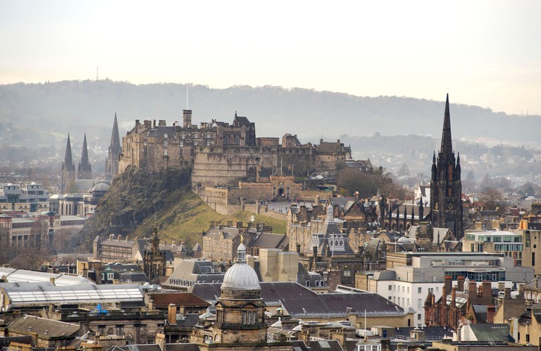 07/12/15.  Edinburgh Castle, and old town viewed from Salisbury Crags, Edinburgh, Scotland GB,