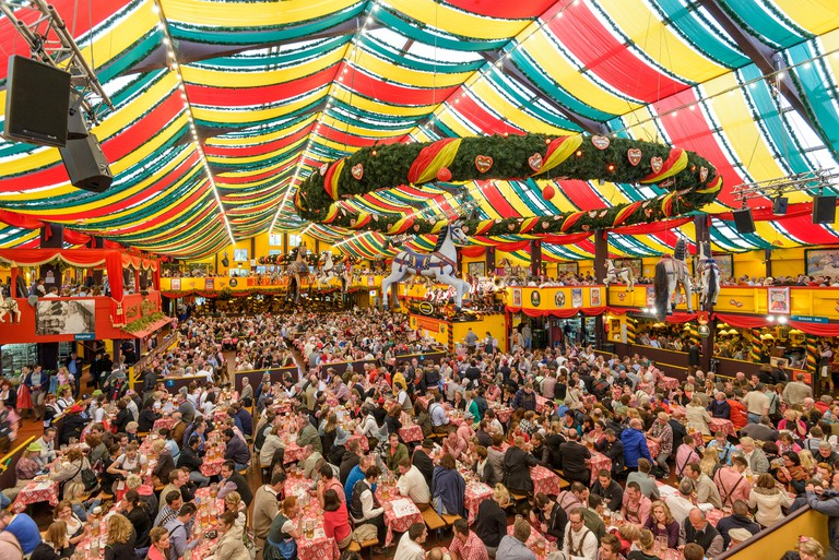Crowds in the Hippodrom Beer Tent on the Theresienwiese Oktoberfest fair grounds in Munich, Germany.