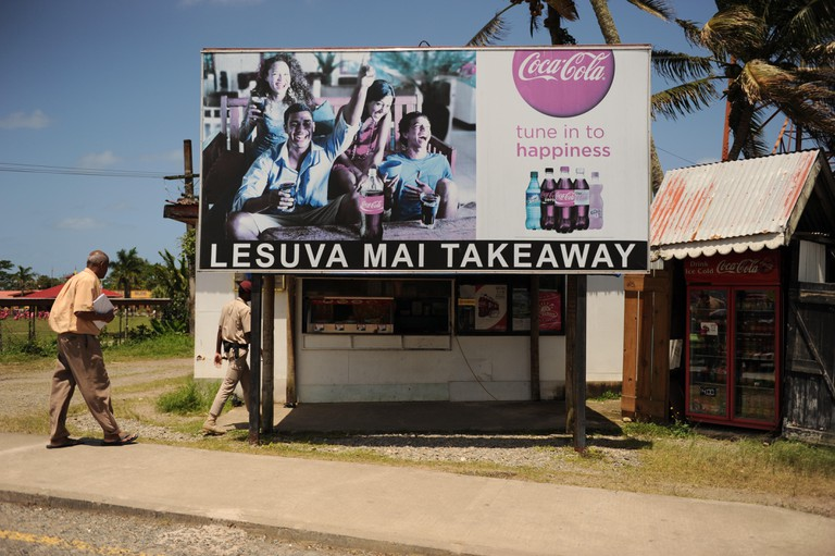 Lesuva Mai Takeaway & Coca-Cola advert in Suva, Fiji