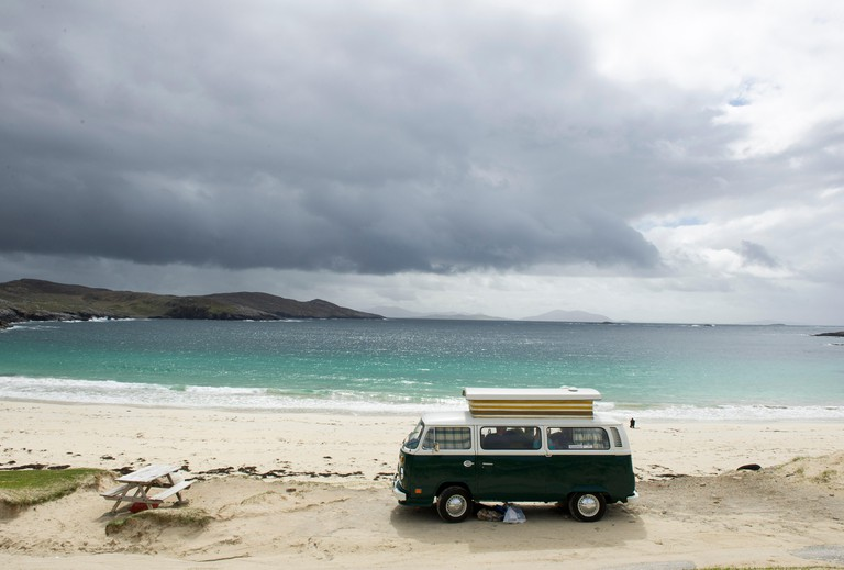 Huisinish beach Outer Hebrides. A VW Camper Van parked at Huisinish beach, Isle of Harris, Outer Hebrides Scotland GB, 24/05/15.