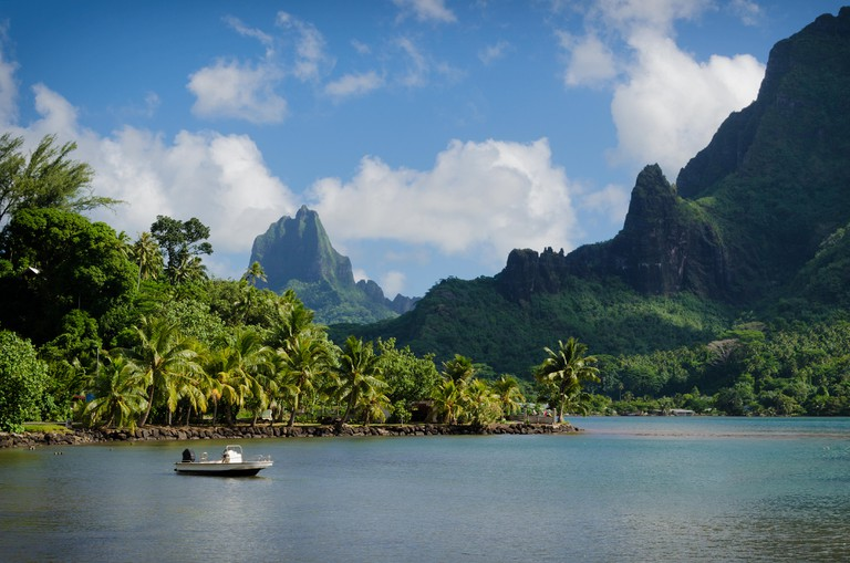 Boat in Cooks Bay with Moua Puta mountain in the background in a  jungle landscape on the tropical island of Moorea, near Tahiti