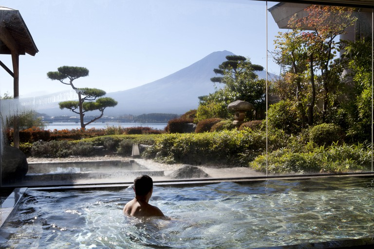 View of a Japaness Garden, Kawaguchi Lake and Mount Fuji in Japan