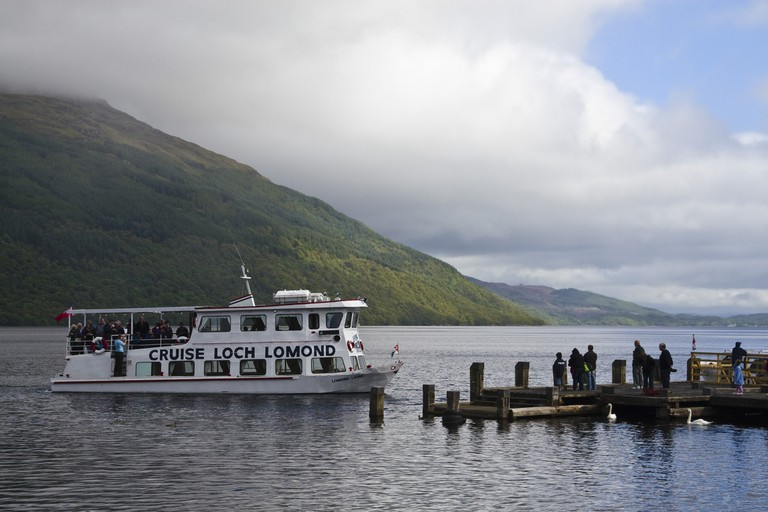 Pleasure boat on Loch Lomond at Tarbet, Loch Lomond and The Trossachs National Park, Scotland
