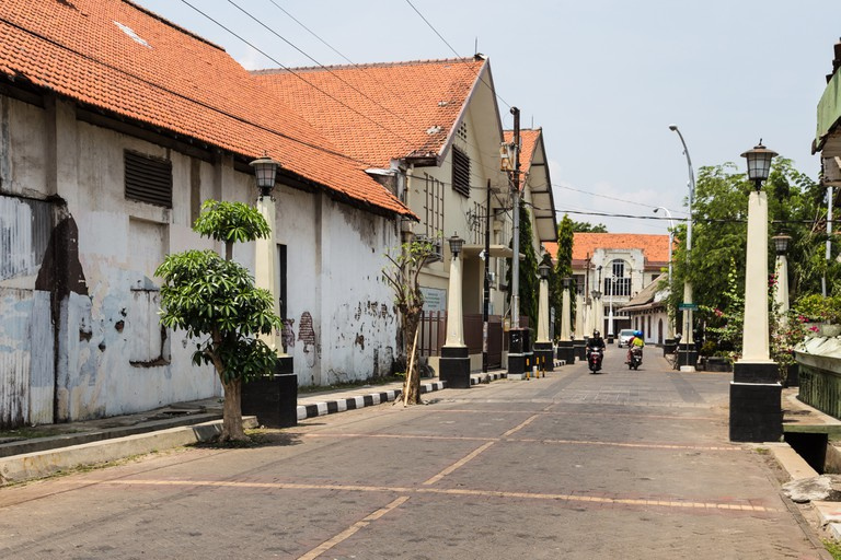 Old houses in Semarang Kota Tua, the old town dating back to the Dutch colonial time