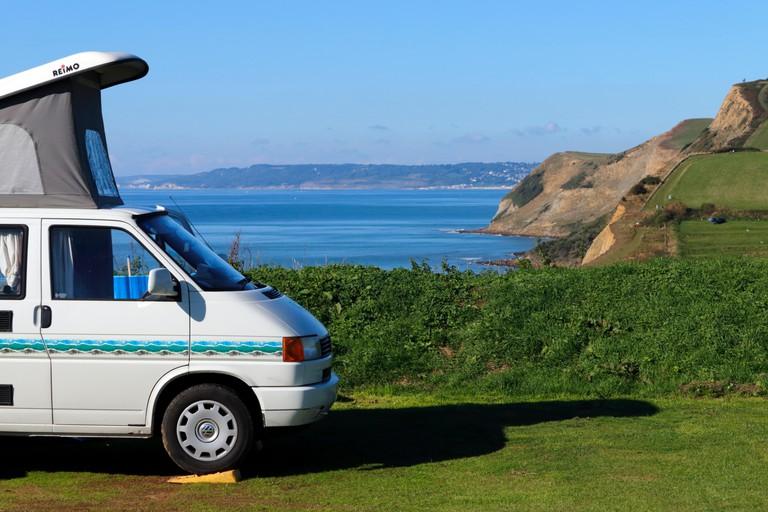 A Volkswagen T4 Transporter camper van at a campsite in Dorset, England