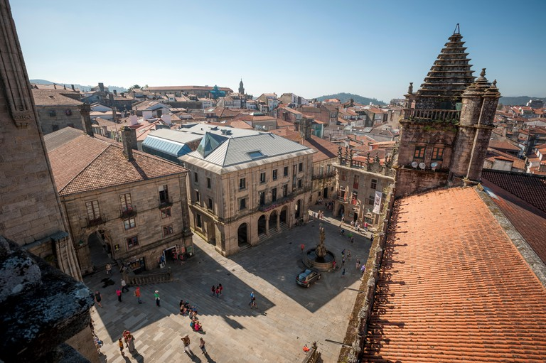 View from the roof of the Cathedral of Santiago de Compostela, UNESCO, Santiago de Compostela, A Coruna, Galicia, Spain