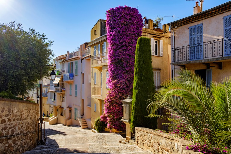 A Colourful street scene in Old Town, Le Suquet, in Cannes on the Cote D'azur in the South of France. The houses are painted in provincial shades