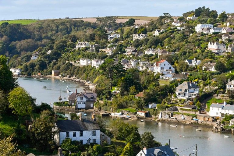 Noss Mayo, Devon, UK. 3rd Oct, 2017. UK Weather. View from the hill above Noss Mayo in Devon of Newton Creek and Newton Ferrers on a warm sunny autumn day. Photo Credit: Graham Hunt/Alamy Live News