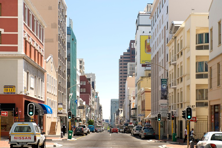 View down the length of Loop street in the city of Cape Town.. Image shot 01/2009. Exact date unknown.