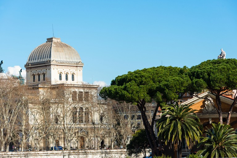 The Great Synagogue of Rome (Tempio Maggiore di Roma) in the Jewish Quarter opposite Tiber Island, is the largest synagogue in Rome. Lazio, Italy