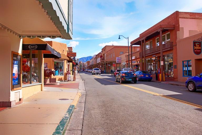 W San Francisco Street in downtown Santa Fe, New Mexico USA